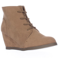 madden girl Domain Wedge Lace Up Ankle Boots - Taupe