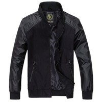 Partiss Mens Superhero Slim Faux Leather Outerwear Black,Large