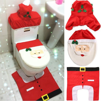 Happy Santa Toilet Seat Cover and Rug Bathroom Set 3 PCS Christmas Decorations  Home Decorates SV008463|27701 (Color: Red) = 1946076356
