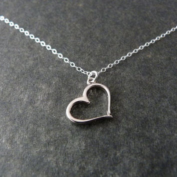 Love Necklace Simple Necklace Girlfriend Gift Sterling by NKDNA