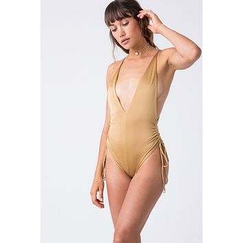 Playground Cinched Tie Side One Piece Swimsuit - Cairo Gold