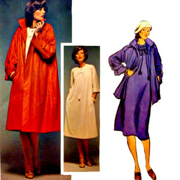 Vintage 70s Vogue Sewing Pattern 1492 Geoffrey Beene Pull Over Dress Jewel Neckline Loose Flared Coat Jacket Patterns Uncut Size 14 Bust 36