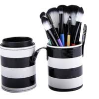 10Pcs Set Cosmetic Makeup Brush Set Make-up Tool With Leather Cup Holder