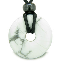 Amulet Lucky Magic Donut White Howlite Crystals Aura Healing Powers Pendant Necklace