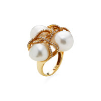 Shay Women's Pearl & Diamond Swirl Cocktail Ring - Gold - Size 6.5