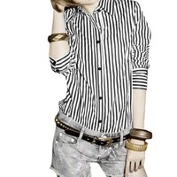 Ladies Black White Vertical Stripe Button Up Shirt XS
