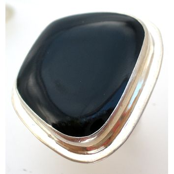 Mexican Sterling Silver Black Ring Size 7.5