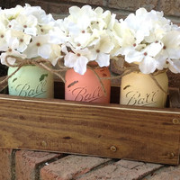Custom made Rustic Planter Box with 3 Painted Mason Jars. Mason Jars. Painted Mason Jars. Rustic Home Decor.