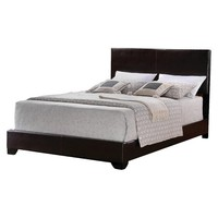 Jarad Faux Leather Bed Brown (King) - Home Source