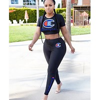 Champion Fashion New Summer Embroidery Letter Sports Leisure Top And Pants Two Piece Suit Women Black
