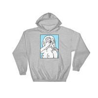 Unapologetic Blue Girl Hooded Sweatshirt Sport Grey