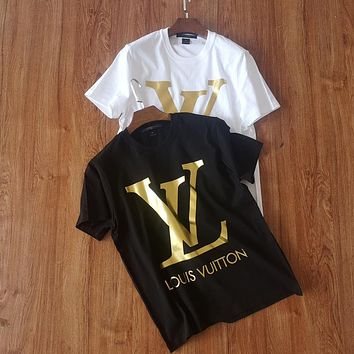 LV Louis Vuitton new bronzing printed cotton round neck T-shirt men and women loose short-sleeved T-shirt