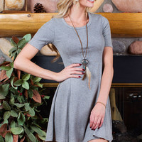 Astrid Ribbed Dress - Grey