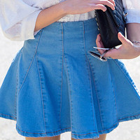 Light Blue Mini Denim Skirt