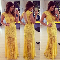 Stylish Short Sleeve Prom Dress Sexy Backless Slim Hollow Out Lace Hot Sale One Piece Dress [4919734596]