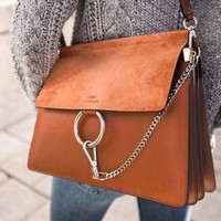 Chloe Hot Sale Fashionable Women Leather Shoulder Bag Crossbody Satchel Brown