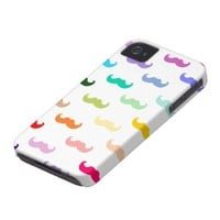 Rainbow Mustache pattern on white iPhone 4 Cover from Zazzle.com