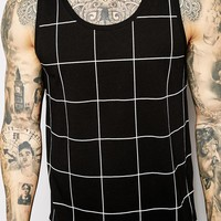 ASOS Longline Vest With Windowpane Check And Stepped Hem Skater Fit