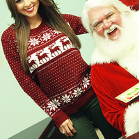 Holly Berry Christmas Sweater: Maroon