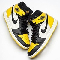 inseva NIKE AIR JORDAN 1 Popular Women Men Casual Sport Shoes Sneakers Black&Yellow