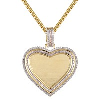 Baguette Icy Solitaire Silver Heart Picture Memory Pendant Chain