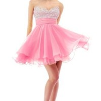 Faironly Crystal Mini Short Cocktail Homcoming Prom Dress (XS, Pink)