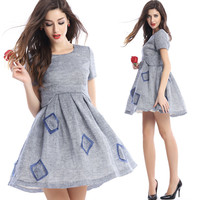 Gray Square Patched Dress