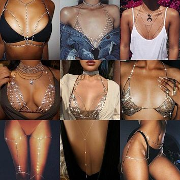 Crystal Rhinestone Bra Chest Body Chain Sexy 2020 Women Shiny Bikini Jewelry Leg Chains For Summer Beach Dress body jewelry