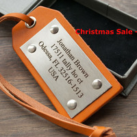 Christmas Sale -15% Personalized Leather Luggage Tags, Latitude Longitude Luggage Tags, State Map Luggage tag, - Leather Gift Active