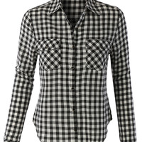 LE3NO Womens Lightweight Plaid Button Down Long Sleeve T Shirt (CLEARANCE)