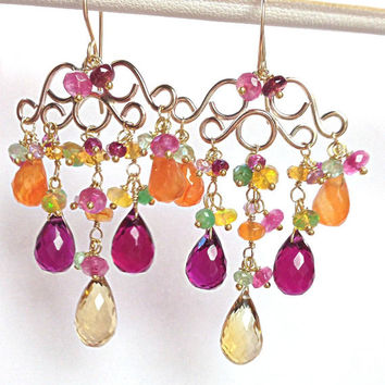 Multicolor Chandelier Earring, Wire Wrap Gemstone, 14kt Gold Fill, Rainbow Colorful Earring, Statement Earrings, Gift For Her