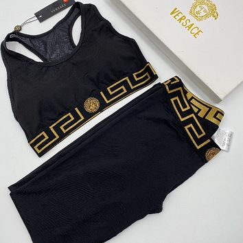 Versace Black Heather Modern Cotton Bralette Black Modern Cotton Leggings Set Two-Piece