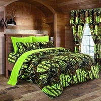 The Woods Lime Green Camouflage Queen 8pc Premium Luxury Comforter, Sheet, Pillowcases, and Bed Skirt Set by Regal Comfort Camo Bedding Set For Hunters Cabin or Rustic Lodge Teens Boys and Girls