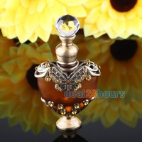 NEW 5ml Vintage Heart Shape Empty Refillable Metal Glass Perfume Bottle Stopper Gift