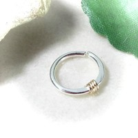 Silver Nose Ring with Gold Wrap Hammered & Wrapped