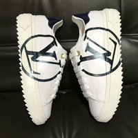 LV Women Sneakers Louis Vuitton Sports Shoes Small White Shoes Flat Shoes Big Logo B-ALS-XZ White-Black