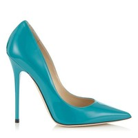 Turquoise Patent Pointy Toe Pumps | Anouk | Cruise 15 | JIMMY CHOO Shoes