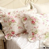 2pcs Pastoral rose print pillowcase elegant handmade ruffle pillow sham cotton decorative pillowcase princess bedroom bedding