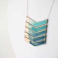 Mega-Sized Forest Green Ombre Wooden Chevron Necklace