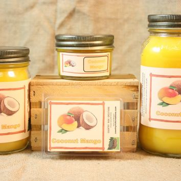 Coconut Mango Candle and Wax Melts, Fruit Scent Candle, Highly Scented Candles and Wax Tarts, Mason Jar Candle