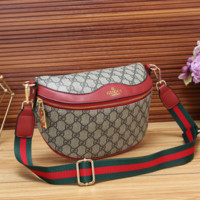 GUCCI New Fashion More Letter Leather Stripe Waist Bag Shoulder Bag