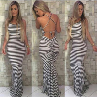 Stripe of cultivate one's morality condole sexy backless dress