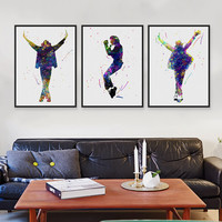 Triptych Original Watercolor This Is It Music Celebrity Michael Jackson Pop Movie Art Prints Poster Picture Canvas Painting Wall