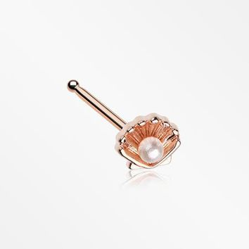 Rose Gold Ariel's Shell Pearlescent Nose Stud Ring