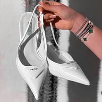 PRADA new product triangle logo ladies high heel sandals slippers Shoes White
