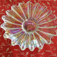 Carnival Glass. Clear Irridescent Bowl, salad plate or candy dish, Vintage
