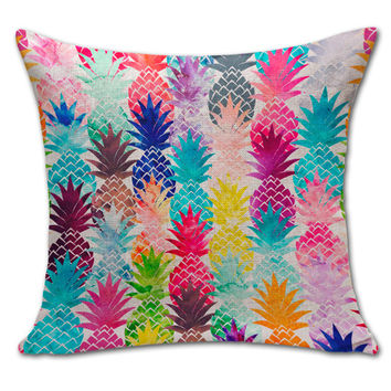 Drop shipping 100% New Sketch Pineapple Cotton Linen Sales Cushion Pillow Decorate Good Quality 2016 New Hot