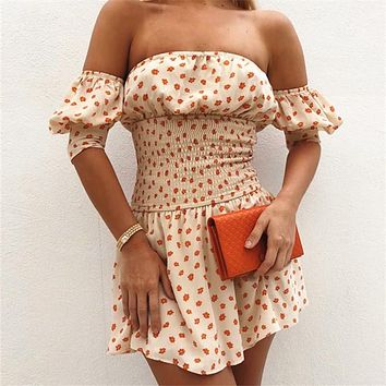 2020 new women's floral pattern waist and shoulder sexy dress