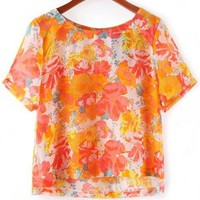 Orange Floral Blouse - OASAP.com