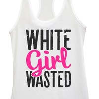 Womens White Girl Wasted Grapahic Design Fitted Tank Top